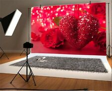 7x5ft Red Valentine Heart Flower Photography Backgrounds Photo Bakdrops Studio