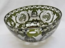 Czech Dark Green Cut to Clear Glass Bowl