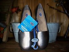 DR SCHOLLS WOMENS DRESS SLIPPERS SIZE 9 PEWTER COLOR CASUAL SUMMER SHOES NEW