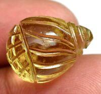 18.75 Ct Natural Lemon Citrine Carving Drilled Sparkling Gemstone Certified