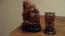 Lot 3 pots à pinceaux anciens sculpture pierre de lard Chine XIXe fleurs oiseau.