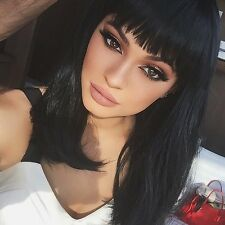 Womens Natural Black Full Straight Bangs Dark celebrity Short Cut synthetic Wig