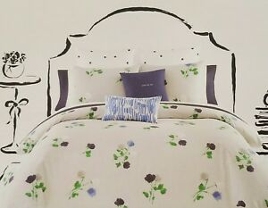 NEW KATE SPADE WILLOW COURT NAVY GREEN GRAY  TWIN COMFORTER & SHAM PILLOW SET