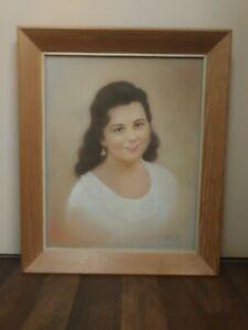 Original vintage pastel portrait