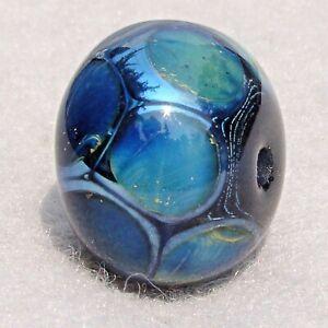 SPOT CHECK Handmade Art Glass Focal Bead Flaming Fools Lampwork Art Glass SRA