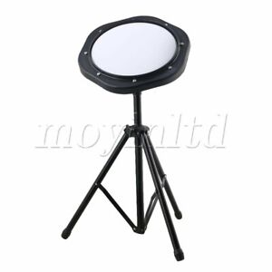10 Inch Simulation Drum Practice Pad Set with Matel Stand Black