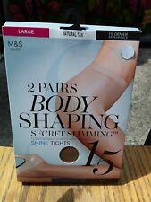 M&S WOMEN HOSIERY 2 Pairs Body Shaping Tights