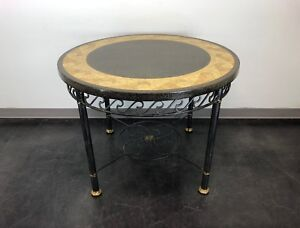 MAITLAND SMITH Wave Themed Faux Mosaic Round Metal Base Table w/ Brass Accents
