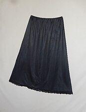 Vintage Womens Deena Full Length Nylon Charcoal Black Half Slip Size Large
