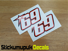 2 x Nicky Hayden Stickers Superbike MotoGP Moto GP 69 Helmet Sticker Car 100mm