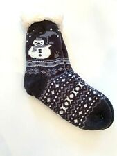 Black Gray Lined Fleece Sweater Slipper Sock Snowman Winter Cozy