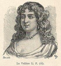 A7200 Luisa Francesca duchessa di La Vallière - Stampa Antica 1928 - Xilografia