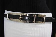 Women Fashion Black Belt Gold Metal Plate High Waist Hip Faux Leather Size S M