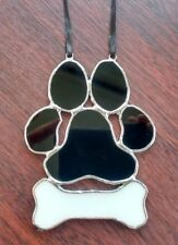 Stained Glass Dog Paw Print Wall Hanging Décoration PET MEMORY Tiffany Style