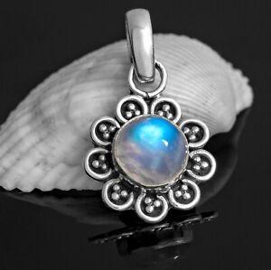 Moonstone Sterling Silver 925 Gemstone Pendant Flower Necklace Jewellery