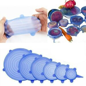 6PCS SILICONE STRETCH LIDS Cover Reusable Fresh Food Storage Seal Wrap Bowl