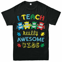 I Teach Relly Awesome Kids T-Shirt, Awareness Love Autism Adult & Kids Tee Top