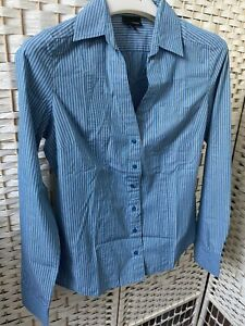 Next Ladies Shirt Top Long Sleeve Blue Stripe Size8 Career Shirt Used Once