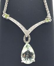 Sterling Silver 925 Pear Green Amethyst - Peridot Diamond Pave V Collar Necklace