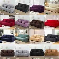 Velvet Stretch Chair Sofa Cover 1 2 3 4 Seater Couch Elastic Slipcover Protector