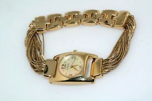 Ecclissi Gold Plated Liquid Silver Mother of Pearl Face Bracelet Watch