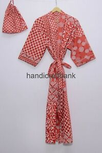 Patchwork Red Floral Printed Hand Block Nightwear Party Wear Cotton Kimono