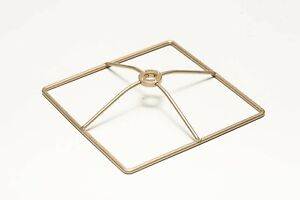 Lamp Shade Making Thick Wire Brass Ring Spider mount 6 inch Square 1 inch drop