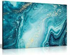 Blue Teal Gold Marble Canvas Wall Art Picture Print