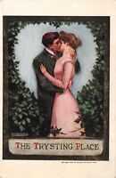 "Lou Mayer~""The Trysting Place""~Romantic Couple~Leafy Heart Bower~1909 Postcard"
