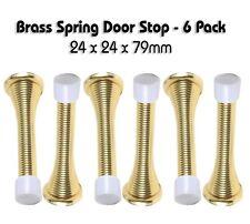 Pack of 6 Brass Platted Spring Door Stop -  24 x 24 x 79mm