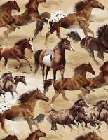 Horse horses running wild  tan C7363 Timeless Treasures durable Cotton fabric