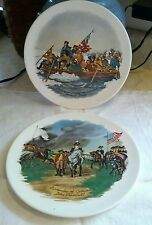 2 VINTAGE USA POTTERY HISTORICAL 1776-1976 COLLECTIBLE PLATES!