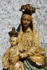 Antique Virgin Mary Madonna with Child Plaster Notre Dame De Victoire Angels