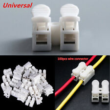 100x White Electrical Cable Connectors Quick Splice Wire Terminals Self Locking