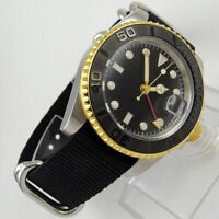 40mm Sterile dial Datum Drehlünette GMT Saphirglas Automatisch Uhr men's Watch