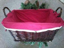 Wicker hamper basket christmas box red velvet lined present gift empty medium