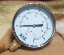 "4"" DIAL PRESSURE GAUGE 0-7 bar 100PSI BOTTOM ENTRY G 1/2 Thread"
