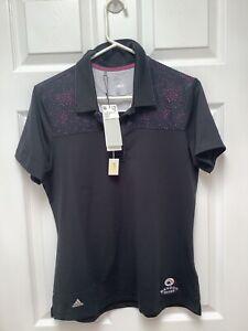 Adidas Golf Women's Short Sleeve Shirt New/Tags M Black W Sprinkles UPF 50 Logos