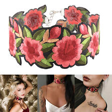 Women Boho Floral Red Flower Rose Embroidery Bib Choker Collar Necklace Jewelry