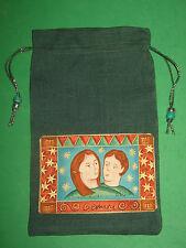 "TAROT CARD BAG -""GEMINI""-5"" x 7 1/4""-DARK GREEN SILK  w/ light green silk lining"