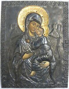 Antica ICONA russa con RIZA RUSSIA Madonna con Bambino cm 34x27 XIX secolo '800