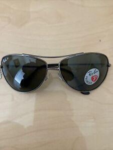 Ray-Ban RB3293P Bubble Wrap Aviator Polarized Sunglasses, Silver Frame Original