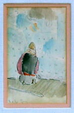 ISTANBUL TURKEY MAN IN PRAYER MOSQUE 1920 WATERCOLOR PAINTING SIGNED TURKISH