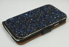 Blue Bling Diamond Made with Swarovski Crystals Frame Wallet Case Cover Note 4