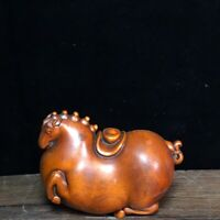 Collect Japanese boxwood carved horse Bring gold ingot statue Netsuke figurines