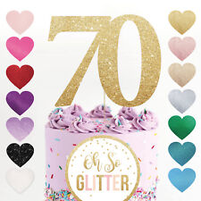 70 large cake topper number any age birthday glitter gold Seventy 40 50 80