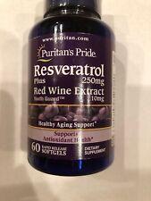 Puritans Pride Resveratrol 250 mg 60 Count, Exp: 04/2021