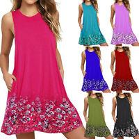 Plus Size Women Floral Short Dress Beach Summer Casual Tunic T-shirt Sundress
