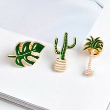 3 Piece/Set Creative Alloy Coconut Tree Leaf Cactus Brooch Pin Fashion Jewelry