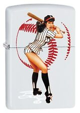 Zippo Lighter: Bettie Page by Olivia, Squeeze Play - White Matte 78915